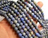 Lapis Lazuli Matte 8mm -  round - 1 full strand  - 49 beads - Ab quality -natural - Matte-  RFG1083