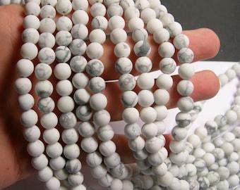 White Howlite turquoise Matte - 8 mm round beads -1 full strand - 49 beads - Matte - RFG517