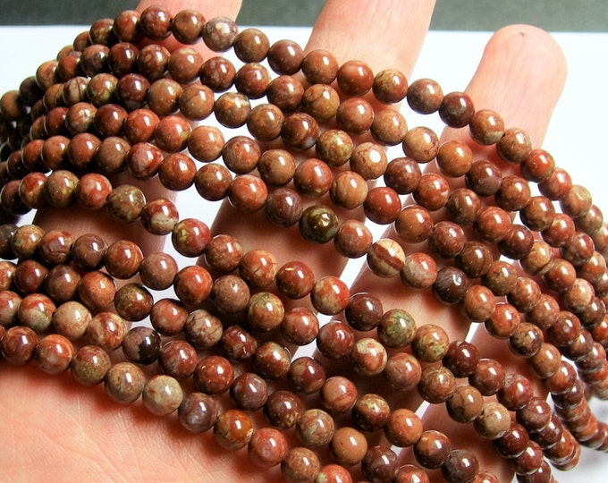 POMEGRANATE RHYOLITE - 6mm round beads -  full strand - 68 beads - RFG900
