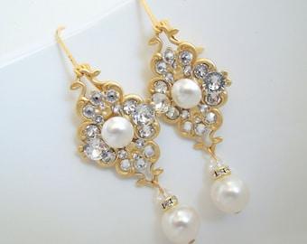 Pearl Earrings Bridal Earrings Ivory swarovski Pearls Pearl Rhinestone Earrings Gold Pearl Earrings Bridal gold Rhinestone Earrings CLAUDE