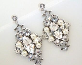 Pearl Earrings Bridal Earrings ivory Pearl Rhinestone Earrings Bridal Pearl Earrings Bridal Rhinestone Earrings crystal earrings GABY