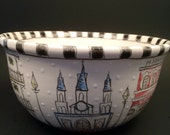 New Orleans Architecture Inspired Sketched Bowl