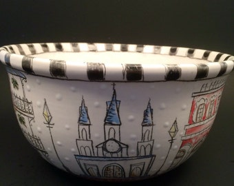 New Orleans Architecture Inspired Sketched Style Bowl