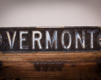 """VERMONT Metal Street Road Sign, 24"""" x 6"""", Hand Painted, Vintage Rustic"""