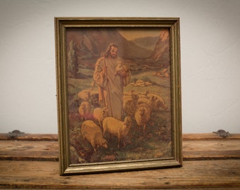 Jesus Our Shepherd with Lambs, Old Framed 1943 Lithograph, Vintage 40s