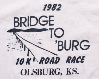 1982 Bridge to 'Burg 10K Road Race T-Shirt, Olsburg KS, Vintage 80s