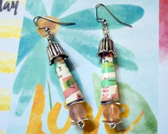 Pink, Mint Green,White and Silver Earrings (2683)