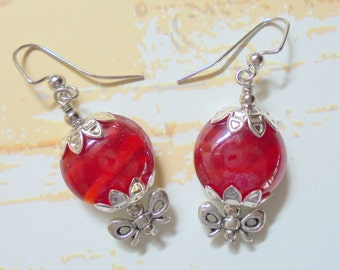 Cherry Red and Silver Earrings (3125)