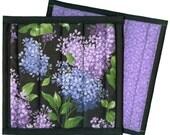 Purple Lilacs Potholder, handmade quilted pot holder floral blooms kitchen