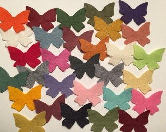 Wool Felt  Butterflies 30 - Random Colored. 3364