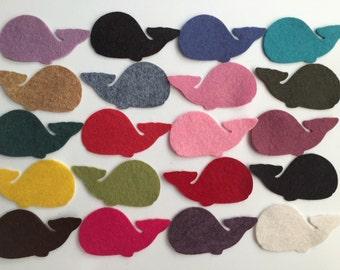 Wool Felt Whales 20 Count - Random Colored 3370 - felt animals - felt for kids - baby shower decor
