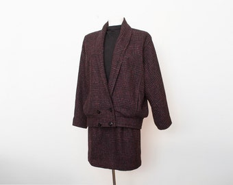 Vintage Wool suit 80s jacket and skirt set