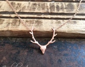 Rose Gold Stag Antler Necklace // Woodland Jewelry // Best Seller // Gifts For Her // Trending Item