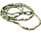 """Turquoise Green Lace Agate Seed Beads 4mm Round 1 Full 34"""" Strand Over 200 Unique Beads"""