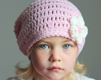Crochet slouchy hat for girl, baby girl slouchy hat, light pink hat for girl