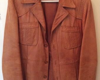 Vintage Mens Wilsons Leather Jacket Blazer Coat Retro Hipster Mod Indie New Wave 1970s 1980s Size 40
