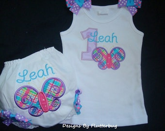 PERSONALIZED 1st Birthday Tank Shirt and Diaper Cover Bloomer Set -Butterfly Birthday-Girls Birthday Set-Appliqued one and Butterfly
