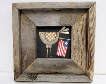 Rustic Barn Wood Framed Chicken with American Flag, Folk Art Chicken, Patriotic Chicken and Flag, Reclaimed Barn Wood, Hand or Tole Painted