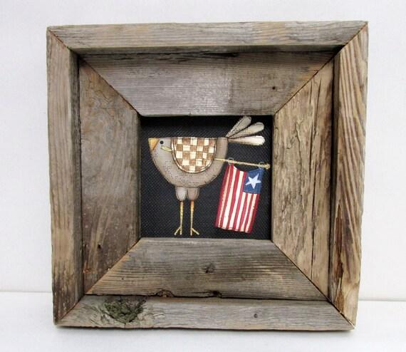 Rustic Barn Wood Framed Chicken With American Flag Folk Art