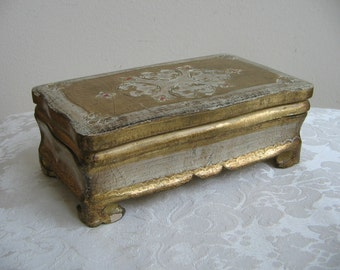 Vintage Florentine Box Gold Gilt White Wood Jewelry Box, Italian Footed Vanity Trinket Stash Box, Made in Italy