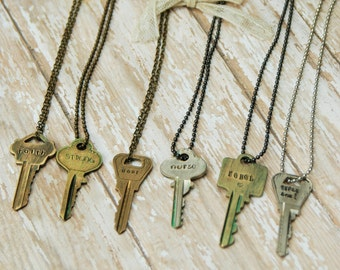 Vintage Upcycled Hand Stamped Key Necklace - Inspired Jewelry Designs By Noelle