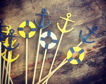 Nautical Theme Cupcake Toppers or Fruit Skewers - Set of 12