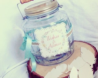 Boho Wishing Tree alternative. Honeymoon Fund, Wishes Jar with feathers