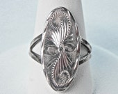 Mexican Ring, Mexican Sterling, Embossed Silver, Size 6 Ring, Taxco Jewelry, Mexican Silver