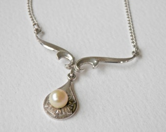 Art Deco Inspired MARVEL Pearl Teardrop Necklace Sterling Silver FREE SHIPPING