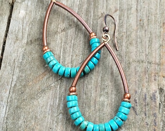 Turquoise and copper hoop earrings, turquoise jewelry, copper earrings