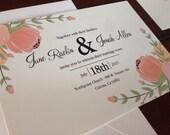 Bohemian Ranucula Wedding Invitation Suite, Ranunculus Flower Elegant Vintage Wedding Invitation Suite, RSVP Postcard, Coral and Mint