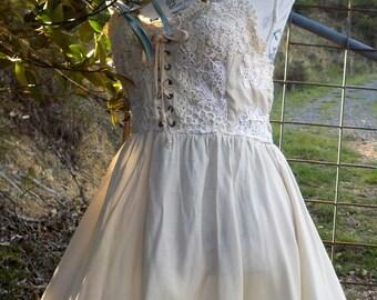 crochet lace up bodice reborn dress, large / xl