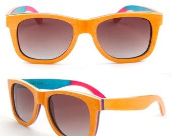 skateboard wood wooden Prescription RX handmade progressive Glare polarized round sunglasses