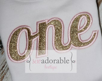 Pink and Gold ONE Shirt or Bodysuit, First Birthday Glitter Shirt, Smash Cake Outfit, ONE applique shirt, FREE Personalization, Girly Shirt