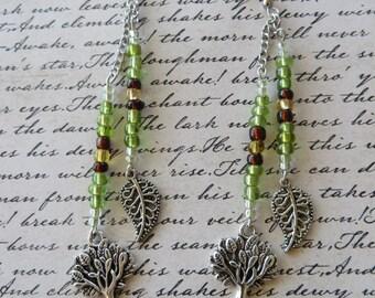 Dangling Leaf And Tree Seed Bead Charm Earrings