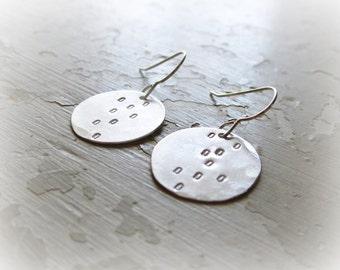 Sterling Dangle Earrings, Stamped Earrings, Simple Dangles,Silver Dangle,Metalwork Jewelry,Small Drop Earrings,Modern Jewelry,Hypoallergenic
