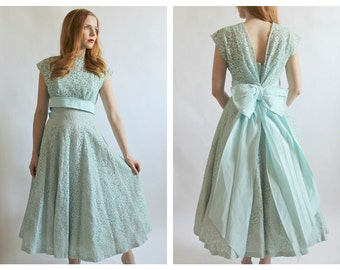 1950s Mint Lace Dress & Bolero- Vintage Prom, Tea Length Wedding Bridesmaid, XS 25, Pinup Retro Green Bow Fit Flare, Full Skirt