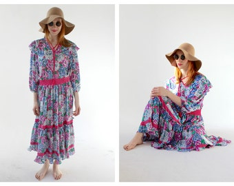 VTG Diane Fres Boho Dress- Bohemian Hippie Dress, Floral Festival Flowy Swingy Maxi, Medium, Designer Vintage LOT 2