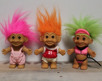 Vintage Russ Troll Dolls, Hot Pink Bikini, Basketball Player, Romper