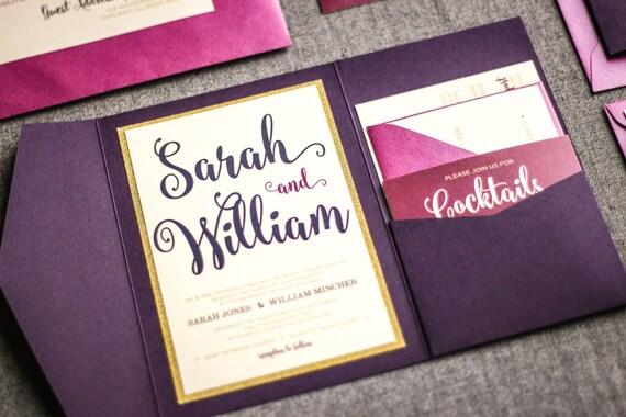 Purple And Gold Wedding Invitations: Purple Wedding Invitations Purple And Gold By JulieHananDesign