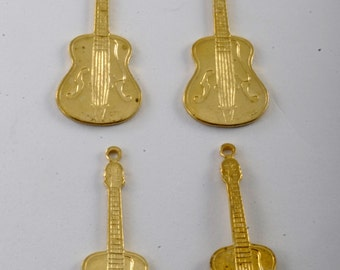 Vintage Set of 4 Acoustic Guitar w/ f Holes Brass STamping Pendant Jewelry Making