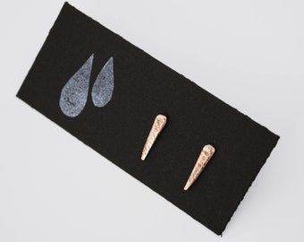 Tiny spike bronze stud earrings - SOLSTICE collection - stalactite shaped post earrings