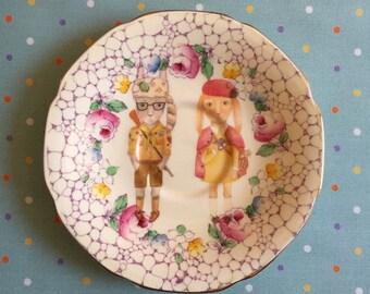 Moonrise Kingdom Bunnies with Mosaic Floral Vintage Illustrated Plate