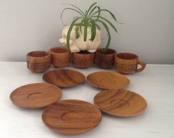Vintage Wooden Teacups, Carved Wood Teacup Set, Vintage Wood Cup, Wood Cup and Saucer