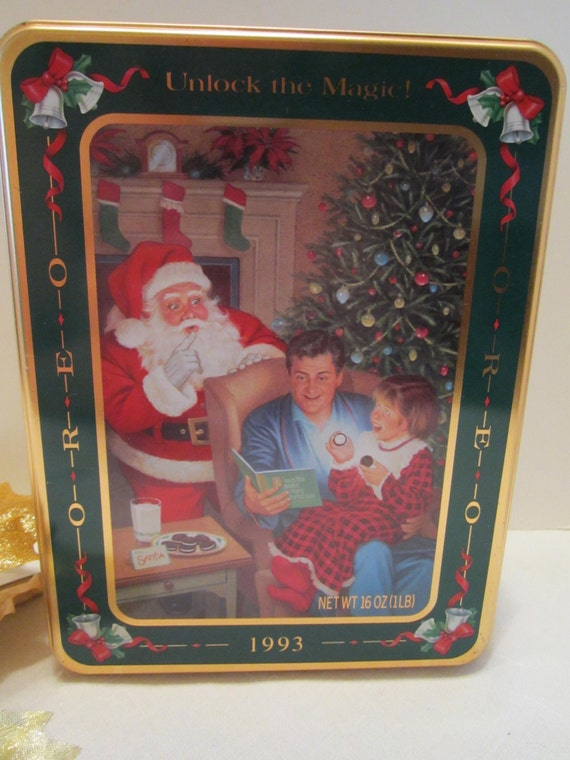 Oreo Vintage Cookie Tin - 1993 - Unlock the Magic - MINT Condition - Christmas Magic Oreo Collectible Tin by Nabisco Foods