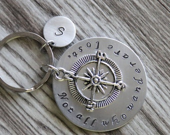 Not all who wander are lost Keychain, Personalized Not all who wander are Lost, Inspirational Necklace, Compass Keychain, Travel Keychain