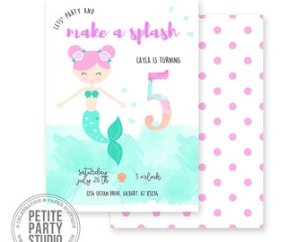 Mermaid Printable Party Invitation | Birthday or Baby Shower | Petite Party Studio