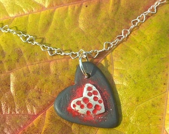 Red Dotty Heart ,Welsh Slate and Silver necklace