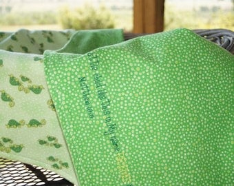 2-Sided Flannel Embroidered Baby Blanket, Turtles, Green Dots, Matthew, Bible Verse Blanket, Scripture Blanket