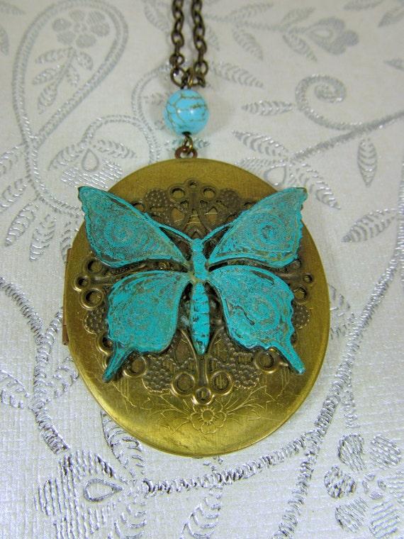 Large Oval Vintage Butterfly Locket, Blue Verdigris, Oversized, Blue Butterfly, Antique Brass - 0060
